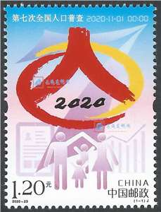 2020-23 第七次全国人口普查 邮票(购四套供厂铭方连)